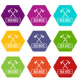 old axe icons set 9 vector image vector image