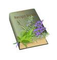 recipe book and flowers vector image