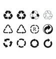 recycling icons set recycled cycle arrows symbol vector image vector image