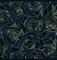 roses bud outlines seamless pattern with flowers vector image vector image