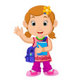 school girl cartoon walking vector image vector image