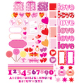 Scrapbook elements with love characters and hearts vector image