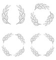 set borders photo frame circle laurel wreath vector image