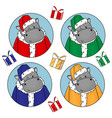 set cute hippos in santa claus costume in red vector image vector image