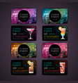 set of cocktail party card vector image vector image