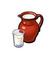 sketch glass of milk ceramic jug crock vector image vector image