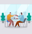 two businessman make a touch with their hands in vector image vector image