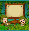 two soldiers with guns in the jungle vector image vector image