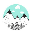 with mountains blue sky pine trees and clouds vector image