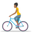 young woman comute ride a bicycle vector image