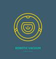robotic vacuum cleaner flat line icon logo vector image