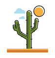 mexican green cactus under hot sun in desert vector image