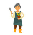 elderly woman in apron with plant and trowel vector image