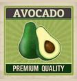 avocado vintage grunge retro poster vector image