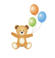 Bear with green blue and orange balloons vector image vector image