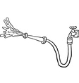 black and white faucet with garden hose vector image vector image