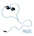 Blue earphones cord in shape of heart Flat design vector image vector image