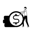 businessman holding coin stack money vector image vector image