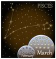 calendar zodiac sign pisces vector image