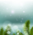 Christmas tree on a background of a snowy vector image vector image