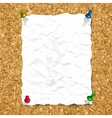 crumpled paper sheet on cork texture vector image