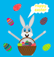 easter bunny with basket of eggs vector image vector image