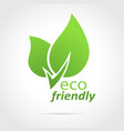 Eco friendly icon green leaves vector image vector image