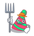 farmer party hat character cartoon vector image vector image