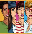 fashion womens pop art cartoon vector image vector image