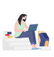 female student sitting with books laptop vector image vector image