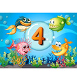 flashcard number 4 with 4 fish underwater vector image vector image