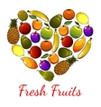 Fruits heart symbol fresh fruit icons vector image vector image