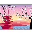 Fuji mount sakura tree and pagoda vector image vector image