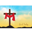 good friday background with wooden cross and sun vector image vector image
