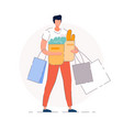 groceries shopping isolated buyer man vector image vector image