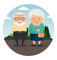 happy grandparents cartoon vector image