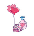 heart shaped party balloons with mason jar vector image