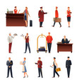 hotel staff flat icons set vector image