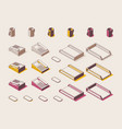 isometric full color outline set for office vector image