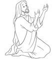 jesus kneeling in prayer coloring page vector image