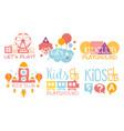 kids land club logo set playiground education vector image