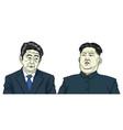 kim jong un with shinzo abe cartoon caricature vector image vector image