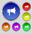 megaphone icon sign Round symbol on bright vector image
