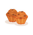 muffin with raisins sweet bakery pastry product vector image vector image