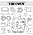 Outline set autoservice icons vector image vector image