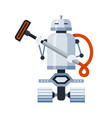 robot cleaner on wheels holding vacuum cleaner vector image vector image