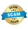 scam 3d gold badge with blue ribbon vector image