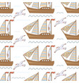 sea seamless pattern with ships and seagulls vector image vector image