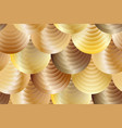 seamless pattern made of glowing golden seahells vector image vector image