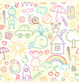seamless pattern with child drawings vector image vector image